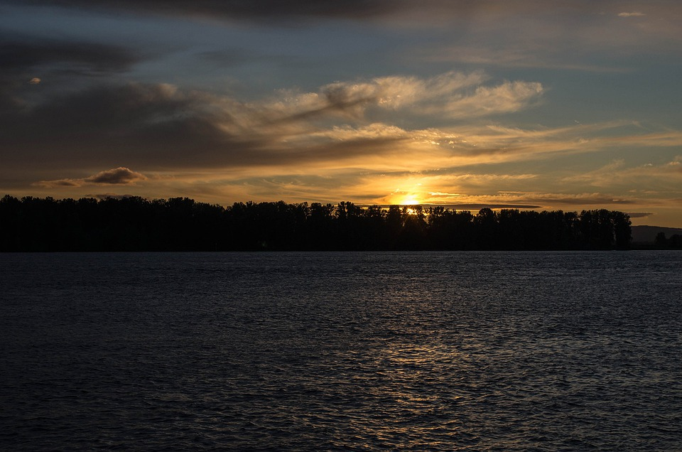 Sunset, River, Water, Sky, Clouds, Outdoors, Tranquil