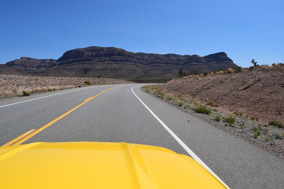 Road, Yellow Car, Trip, Tranquility, Travel, Morning