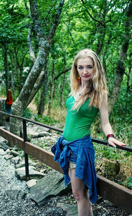 Girl, Transition, Forest, Trail, Tourist, Vacation