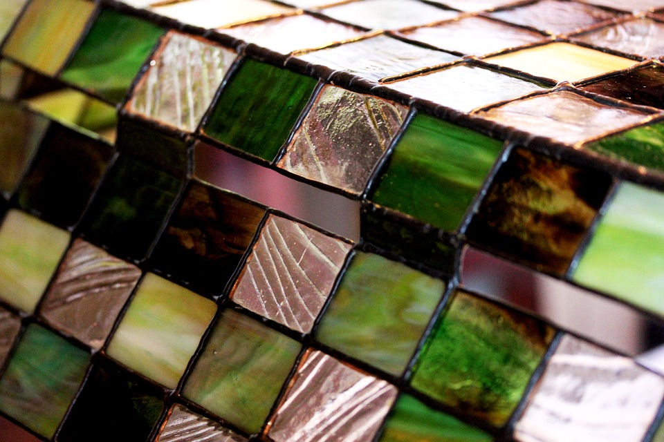Stained Glass, Squares, Green, Translucent