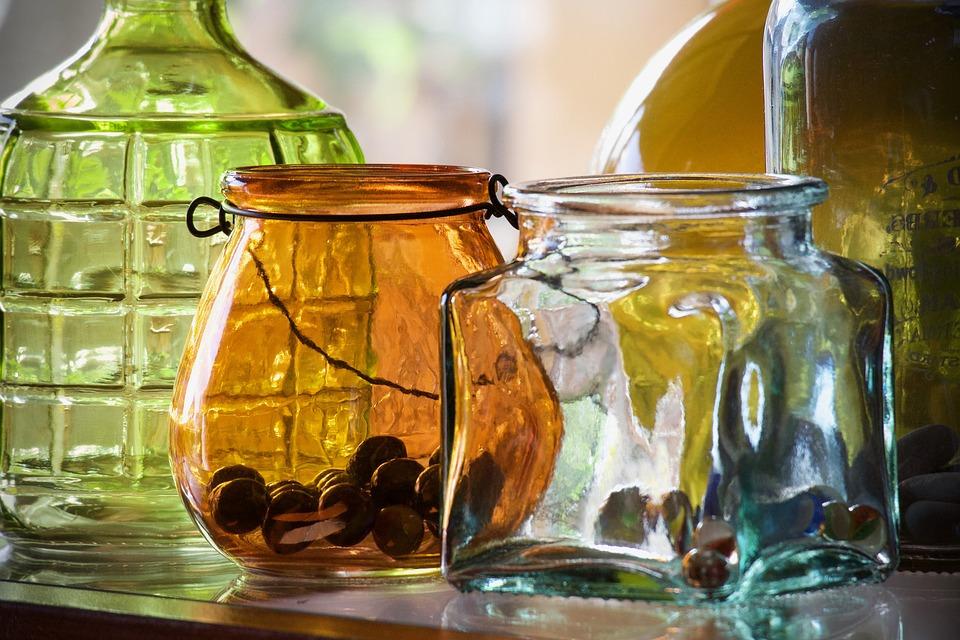 Vases, Glass Jars, Transparencies, Light, Colorful