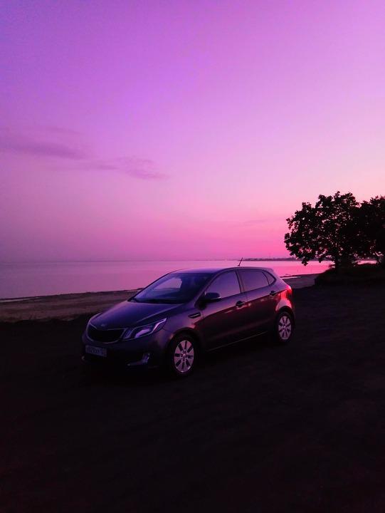 Sunset, Sunrise, Dawn, Lilac, Car, Auto, Transport