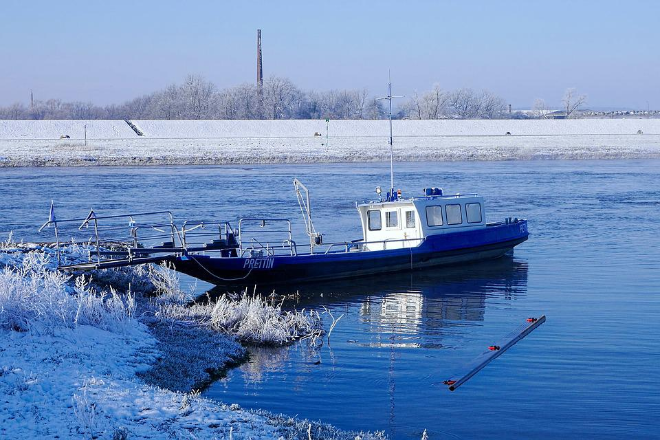 Winter, Ice, Snow, Ferry, Waters, Transport System