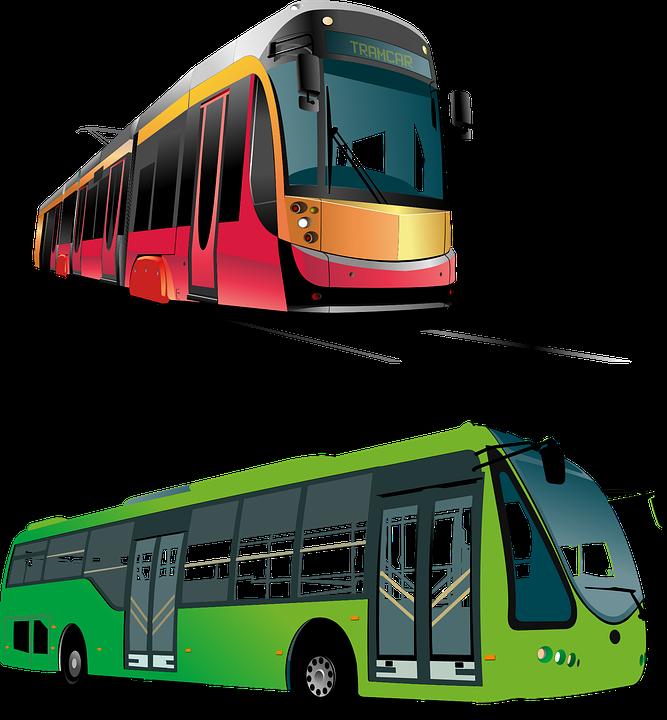 Tram, Bus, Icons, Transport, Trainsportation System