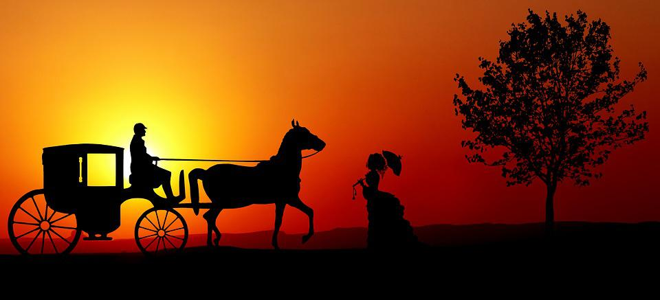 Layer Of The Sun, Coach, Horse, Hitch, Woman, Transport