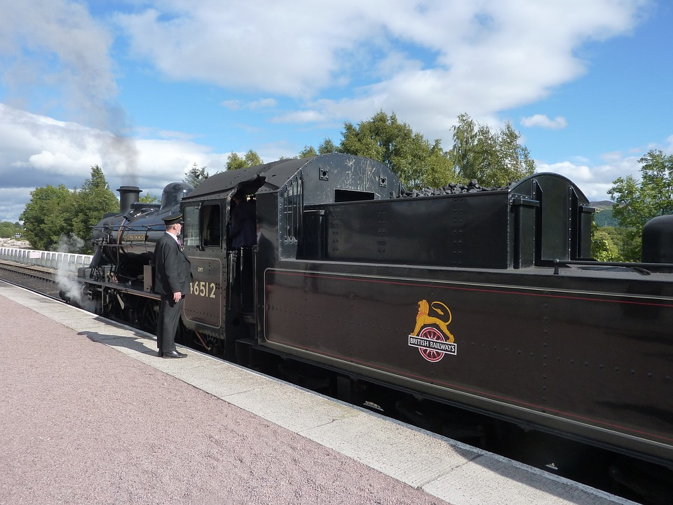 Steam Train, Train Guard, Old, Transportation, Railway