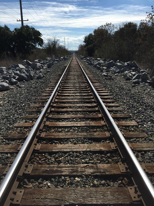 free photo transportation tracks perspective road train tracks max