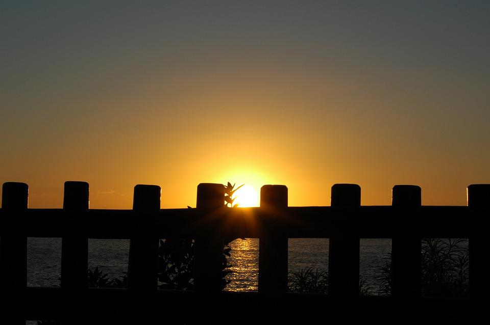 Sunset, Gate, Sun, Trapped, Evening, Limited, Color