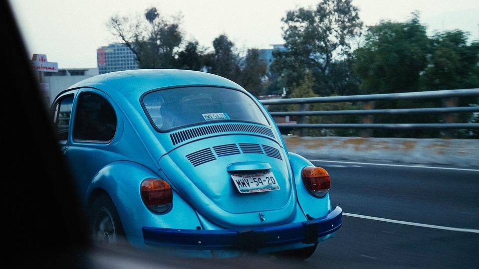 Volks Wagon, Blue, Road, Travel, Trees, Building
