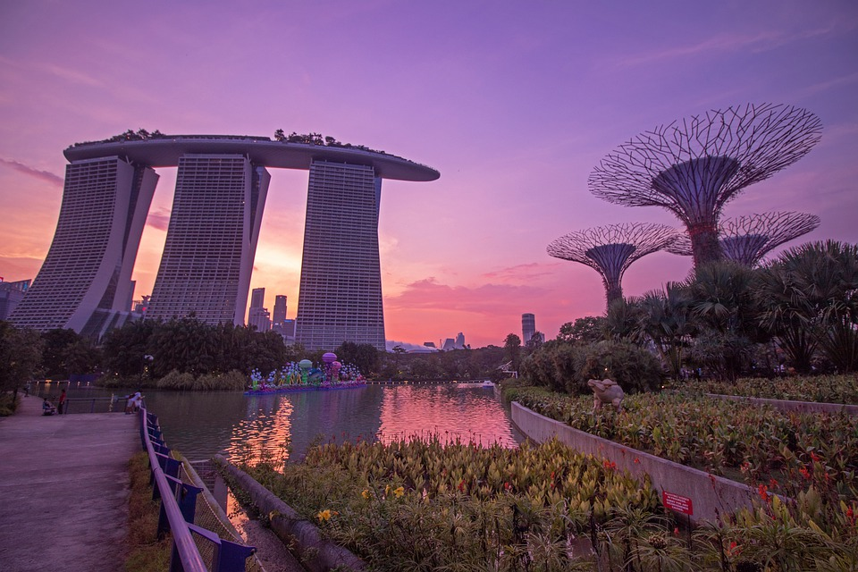 Singapore, Sunset, Architecture, Building, Bay, Travel