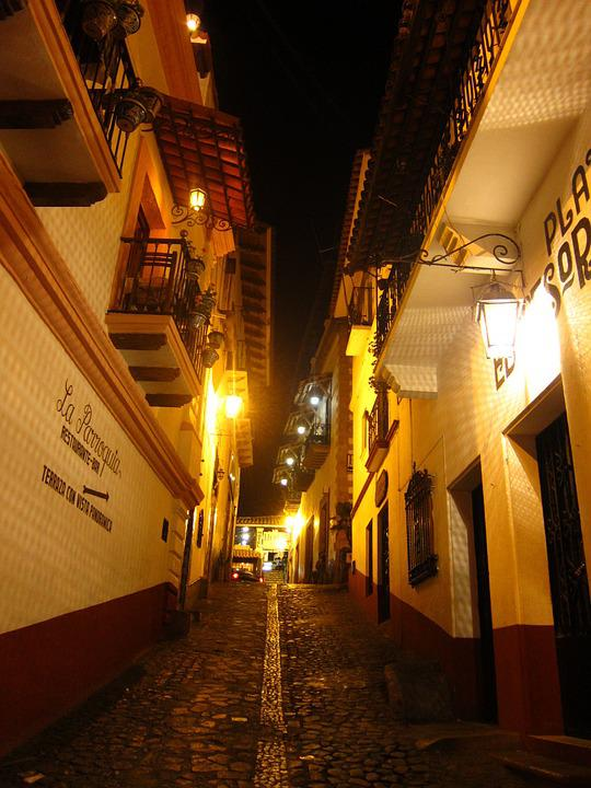 Mexico, Building, Travel, Night View, Cobblestone