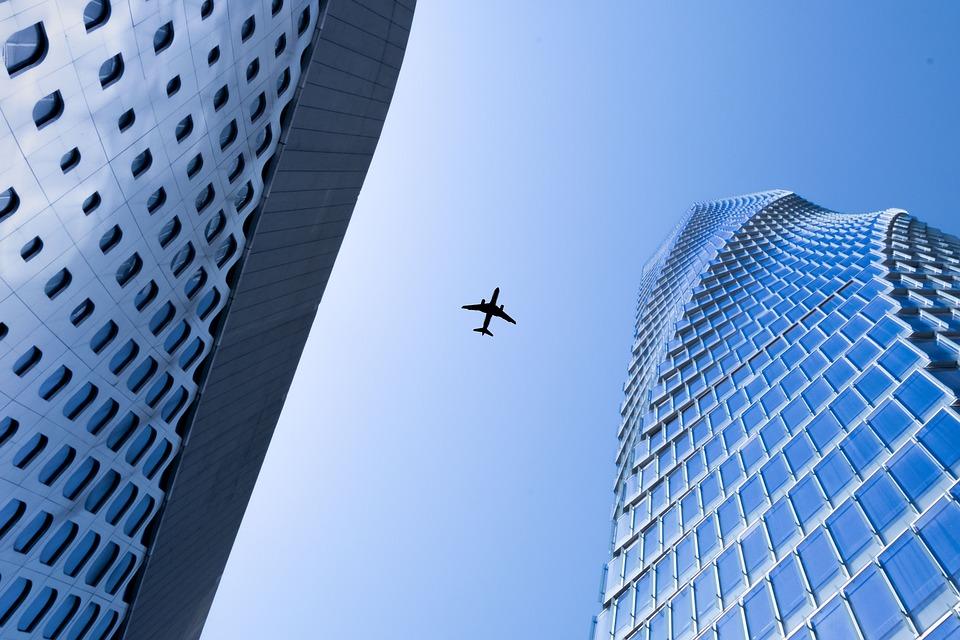 Airplane, City, Building, Travel, Tourism