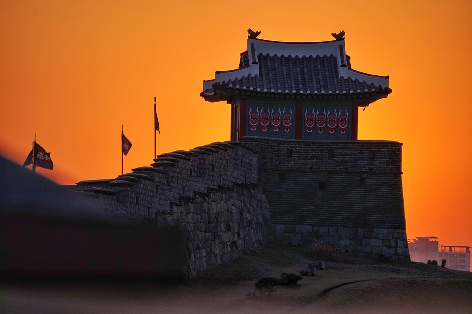 Sunset, Castle, Hanok, Travel, Night, Korean