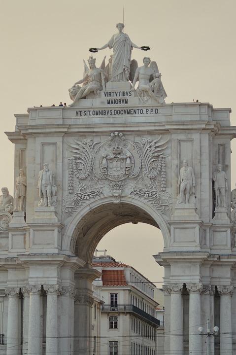 Door, Lisbon, Statues, Portugal, Lisboa, City, Travel