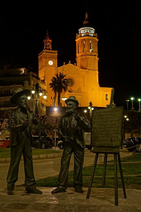 Sitges, Spain, Architecture, Travel, Monument, Night