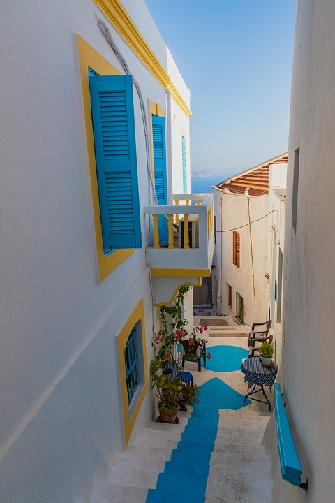 Greece, Nisyros, Travel, Balcony, Window, Rose, Street