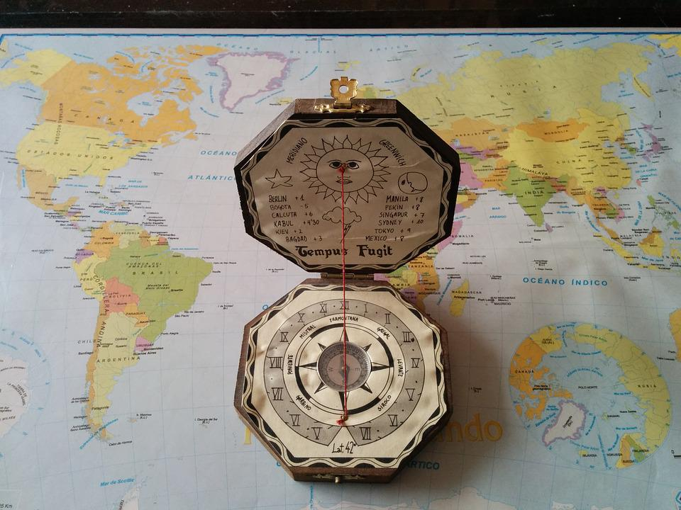 Compass, Old, Map, World, Travel
