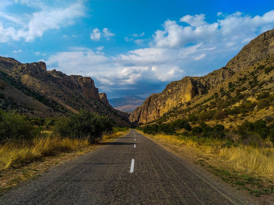 Road, Open, Sky, Armenia, Highway, Travel, Freedom