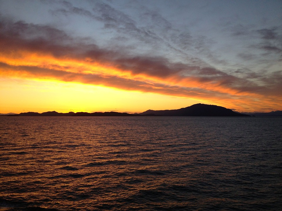 Alaska, Sunset, Travel, Sky, Water, Landscape, Sea