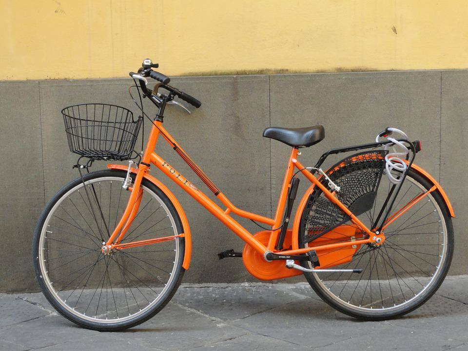 Bike, Orange, Street, Travel