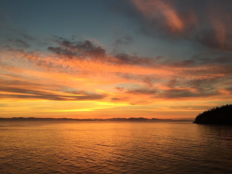 Sunset, Washington, San Juan Islands, America, Travel
