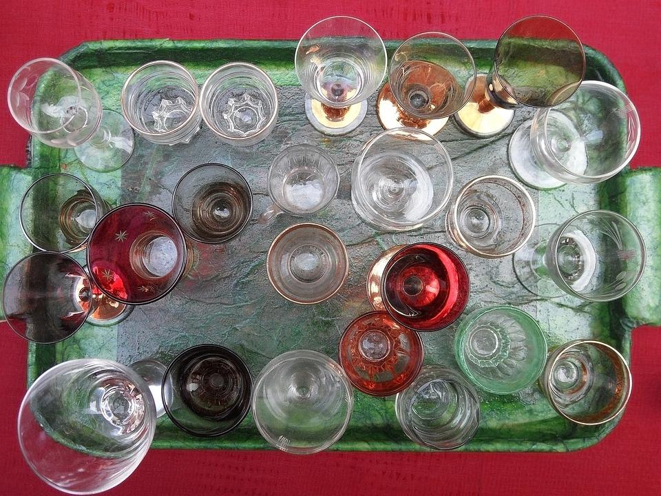 Glass, Glasses, Tray, Transparent, Murano