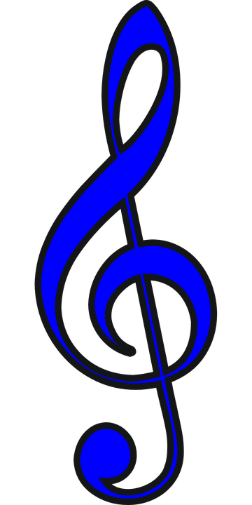 Clef, Trebble, Blue, Music, Musical, Melody