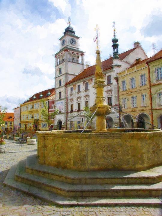 Třeboň, Fountain, Painting, Czech Republic, Square