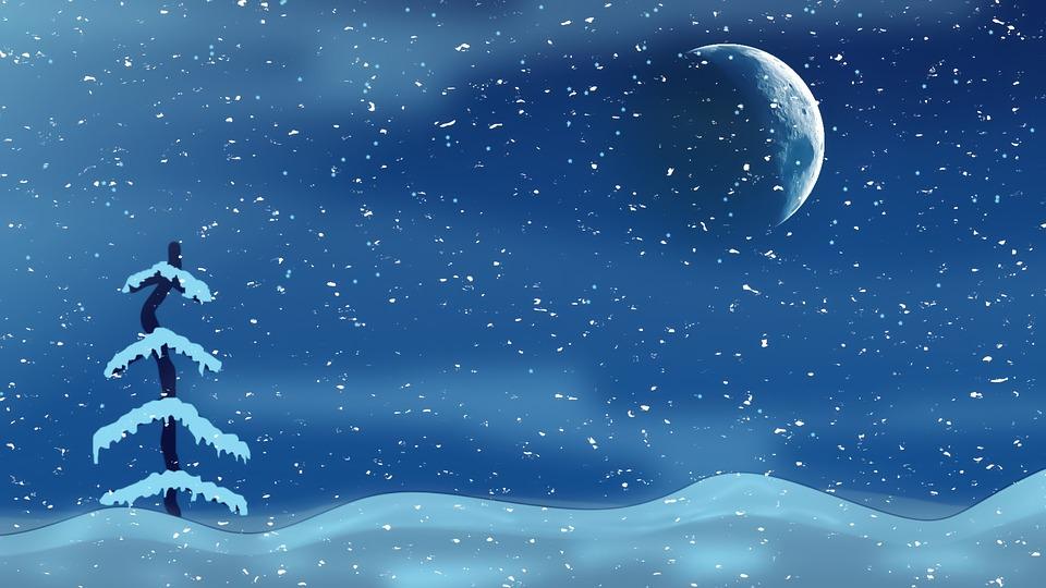 Christmas Night, Moon, Tree, Snow, Background