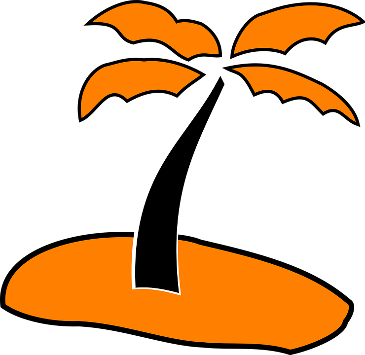 Palm, Tree, Sand, Orange, Black, Beach, Summer