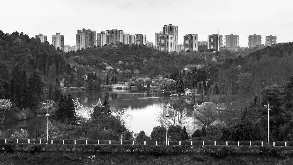 Black And White, Lake, Building, Mountain, Tree, Park