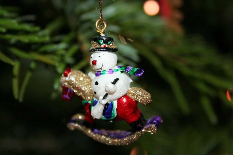 Snow Man, Rocking Horse, Christmas, Tree Decorations
