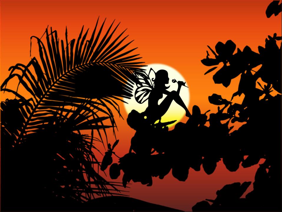 Silhouette, Fairy, Sun, Tree, Beautiful