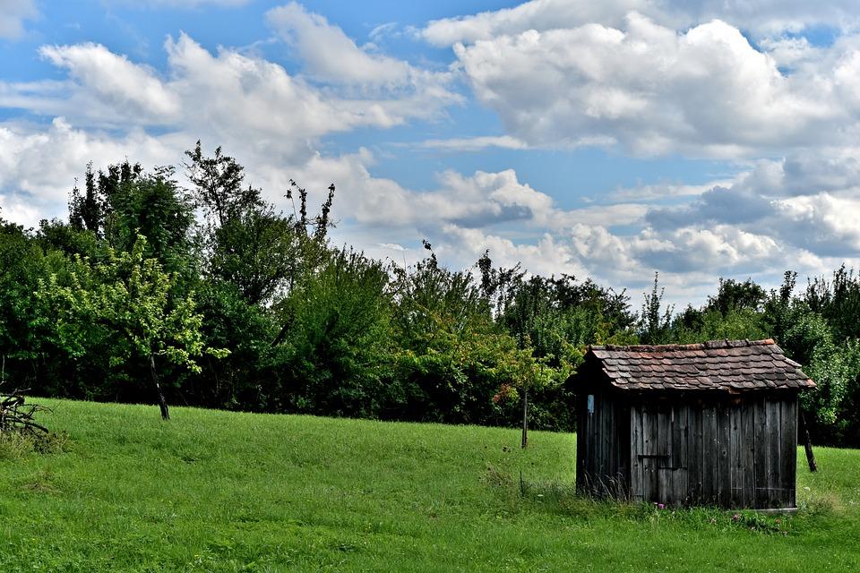Sky, Cloud, Tree, Grass, Hut, Roof, House, Landscape