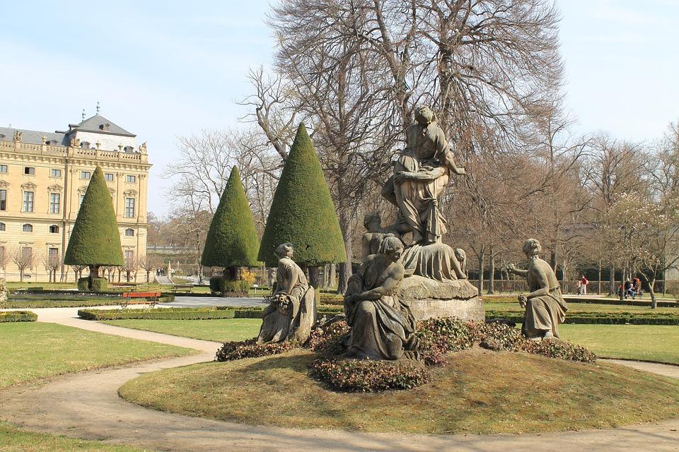 Park, Statue, Grove, Würzburg, Tree, Sculpture, Nature