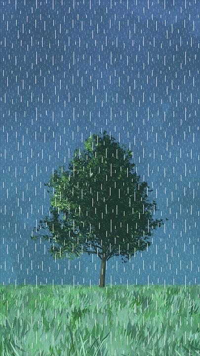 Painting, Creativity, Grassland, Tree, Rain, Blue Rain