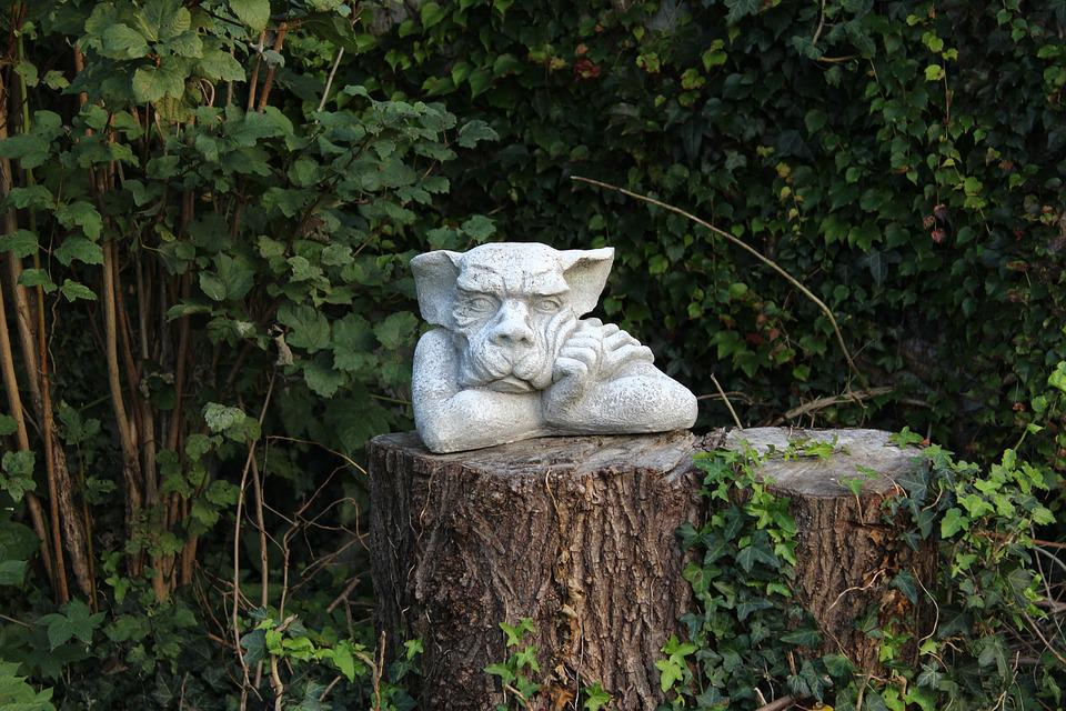 Garden, Troll, Garden Figurines, Tree Stump, Fantasy