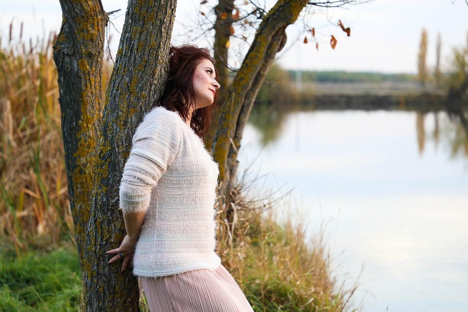 Lake, Nature, Autumn, Girl, Woman, Tree, Trees
