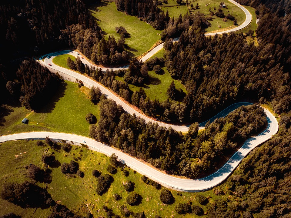 Landscape, Road, Winding, Woods, Trees, Aerial View