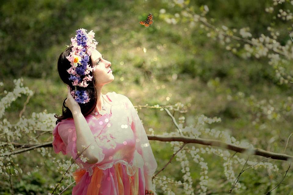 Girl, Spring, Flowers, White, Wreath, Beauty, Trees