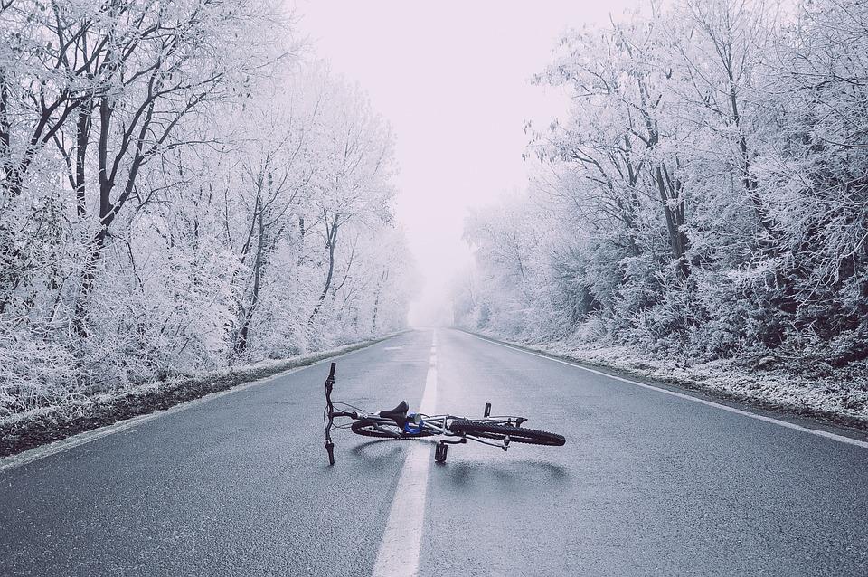 Bicycle, Bike, Haze, Perspective, Road, Snow, Trees