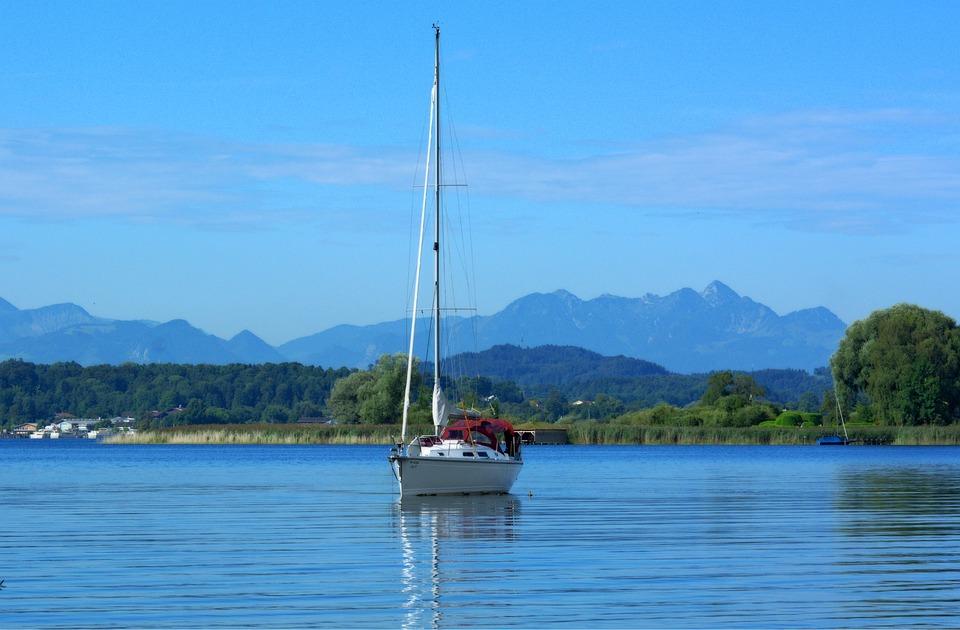 Nature, Lake, Chiemsee, Boot, Pier, Trees, Green, Idyll