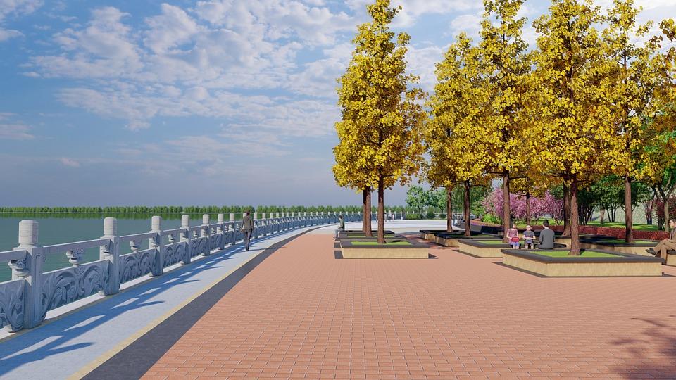 Architecture, Design, Render, Waterfront, Park, Trees