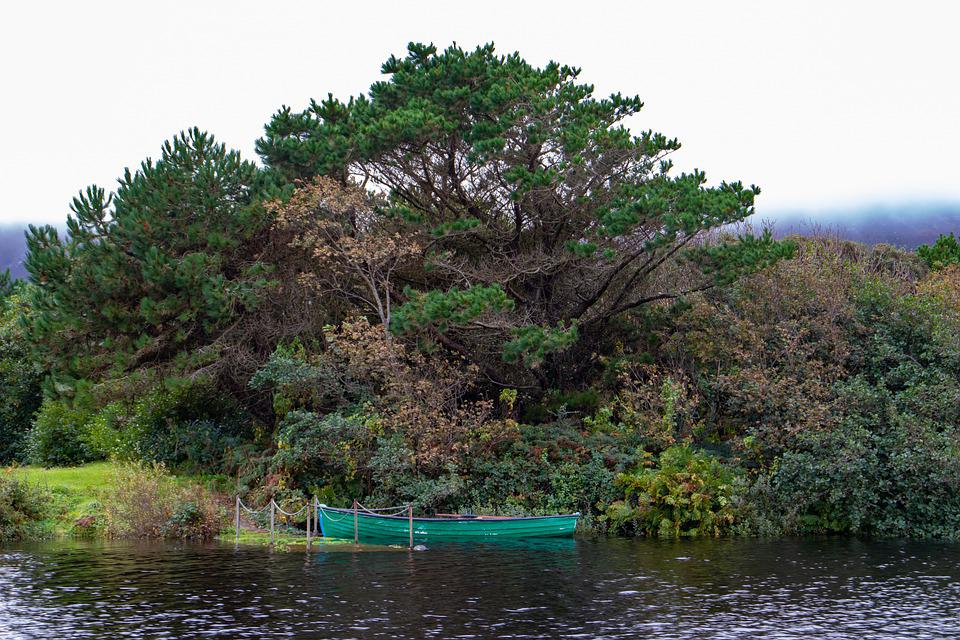 Lake, Boat, Pier, Landscape, Forest, Woods, Trees
