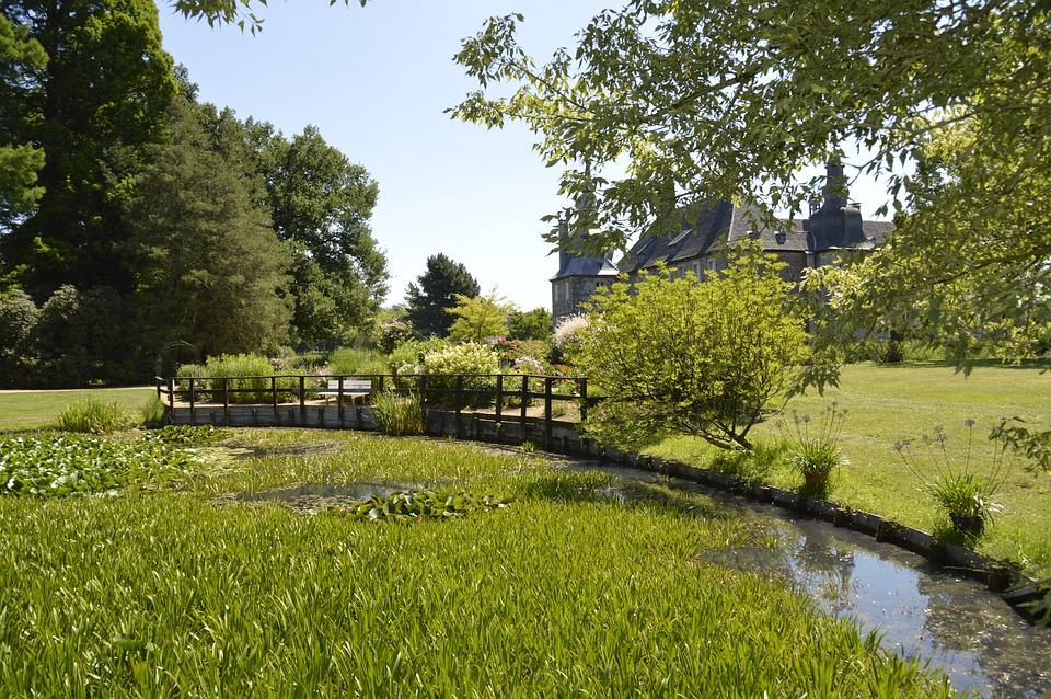 Bach, Meadow, Trees, Castle, Landscape, Water, Nature