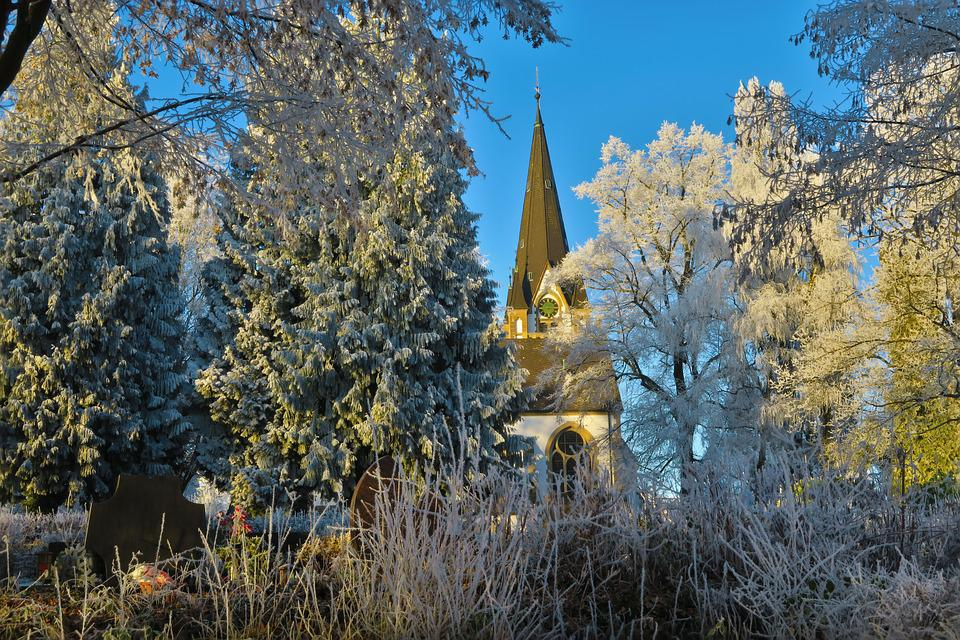 Trees, Church, Nature, Cemetery, Ice, Cold, Frozen