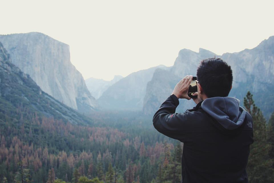Mountain, Valley, Trees, Plant, Sky, Autumn, People