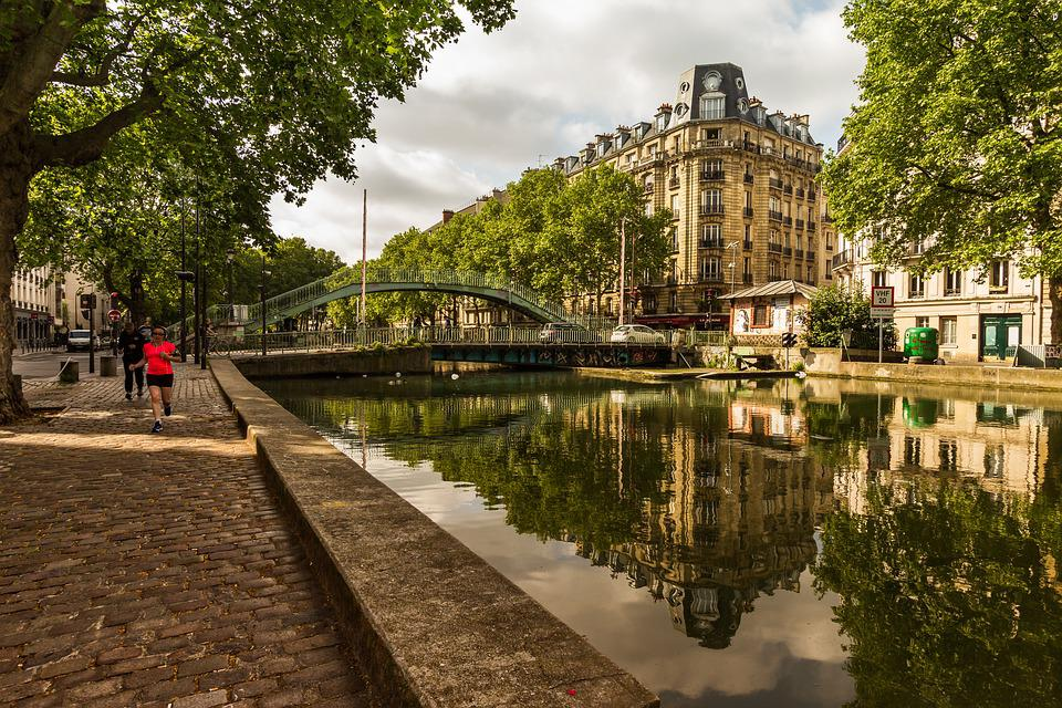 Paris, Reflections, Water, Contrast, Trees, France