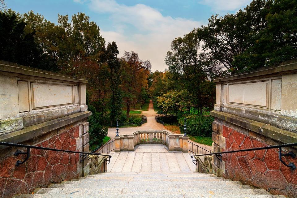 Riesa, City Park, Trees, Autumn, Staircase, Park