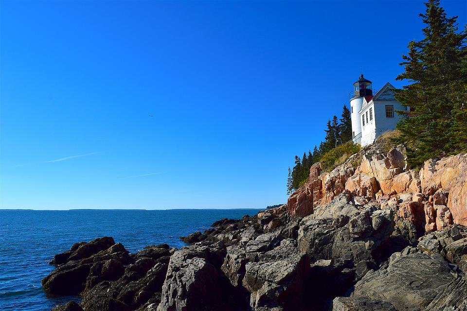 Lighthouse, Rocks, Trees, Shoreline, Ocean, Pine Trees